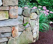 Jardinera y muro de piedra con bonitas plantas en jardín
